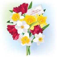 Greeting card with flower bouquet.