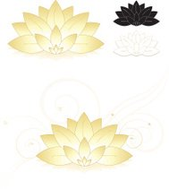 Lotus Flowers, Water Lilies Set (Gold, White), Icons, Optional B