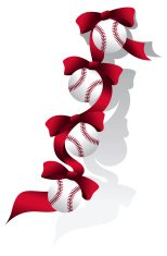 Baseball/Softball Red Christmas Ribbon