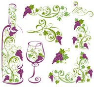 Vector wine design elements