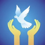 Vector dove and human hands - peace symbol