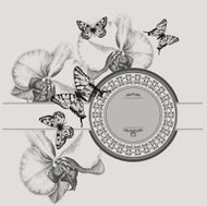Vintage frame with blooming orchids and butterflies, hand-drawin