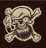 Black pirate skull with a tobacco pipe