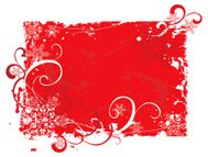 red grunge christmas background with snowflakes