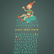 Childrens greeting card. Dark background with drops