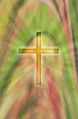 glowing cross on abstract background
