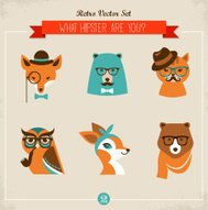 Cute fashion Hipster animaux & animaux de compagnie
