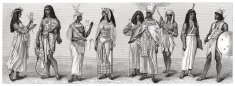 People from Ancient Egypt (antique wood engraving)