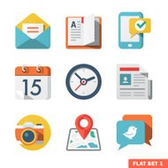 Basic Flat icon set for Web and Mobile Application.