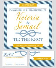 Wedding invitation cards template, knot