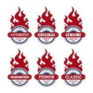 product badge and label red fire theme set