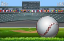 Baseball stadium and flags of the world