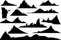 Silhouettes of mountains.