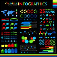Colorful infographic set on black background and 25 universal ic