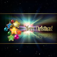 Abstract black background with Christmas decorations and stars