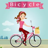 vector illustration of young lady riding bicycle.