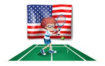 tennis player in front of the USA flag