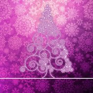 Christmas card with stylized pink glowing. + EPS10
