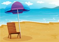 Beach with relaxing wooden chair under an umbrella