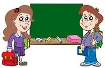 Two pupils with blackboard