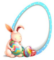 Rabbit with easter eggs beside an egg-shaped signage