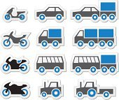 Blue transport and travel icons set