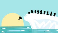 Penguins on iceberg and global warming