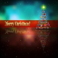 Abstract celebration background with Christmas tree and stars