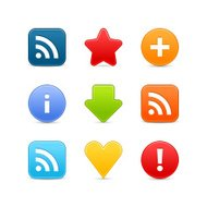 Satin icon set web internet circle square button white backgroun