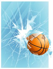 Basketball ball & broken glass