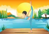 Girl performing yoga along the river in a sunset scenery