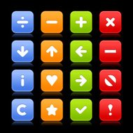 Satin icon set basic sign web internet square button