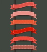Abstract red ribbon banner