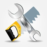 Saw and Wrench icon vector illustration