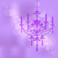 purple background with chandelier
