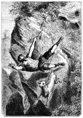 Man and goat falling over a cliff
