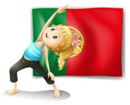 young woman in front of the Portugal flag