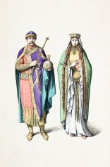 Frankish king and queen with traditional costumes from 11th cent