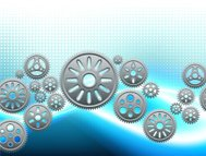 Metallic Gear on Light Blue Motion Background