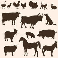 vector silhouettes  of farm animals