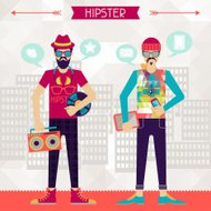Two hipsters on urban background in retro style.