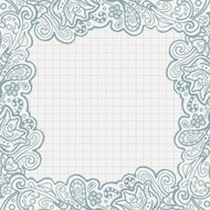 Ball pen floral frame on checked paper.