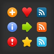 Satin icon set web internet circle square button gray background