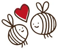 Two bees with a love heart