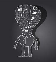 Cartoon businessman with light bulb and doodle icons