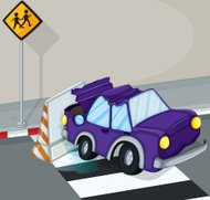 violet car having an accident at the road