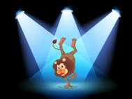Dancing lion in the middle of stage