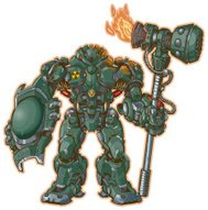 robot warrior with shield and hammer