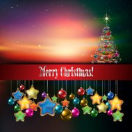 Abstract celebration background with Christmas tree and sunrise