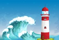 lighthouse in middle of the sea with high waves